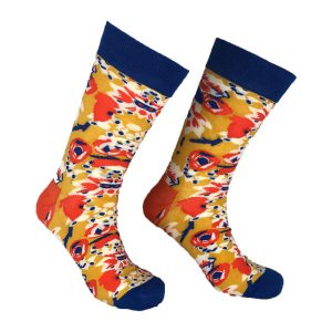 Orange and Yellow abstract Sock- 118