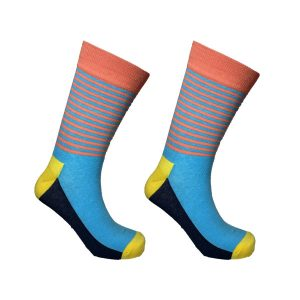 Blue and Salmon Half Stripe Sock 139